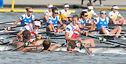 Amsterdam. NETHERLANDS. Supporters' swim out th congratulate the NED LW4X. Bow. Mirte KRAAIJAMP, Elisabeth WOERNER, Maaike HEAD and Lise PAULIS. De Bosbaan Rowing Course, venue for the 2014 FISA  World Rowing. Championships. 17:38:01  Friday  29/08/2014.  [Mandatory Credit; Peter Spurrier/Intersport-images]