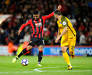 Joshua King (17) of AFC Bournemouth attempts a shot at goal during the Premier League match between Bournemouth and Brighton and Hove Albion at the Vitality Stadium, Bournemouth, England on 15 September 2017. Photo by Graham Hunt.