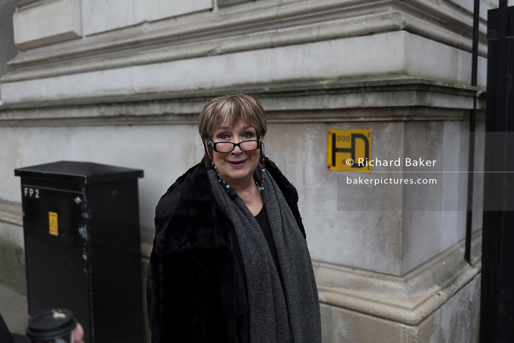 "Veteran BBC journalist and broadcaster, Jenni Murray enters Downing Street to interview Prime Minister Theresa May about the Suffragette movement, on 5th February 2018, in London, England. Dame Jennifer Susan ""Jenni"" Murray, DBE is an English journalist and broadcaster, best known for presenting BBC Radio 4's Woman's Hour. Murray was appointed Officer of the Order of the British Empire (OBE) for services to broadcasting in 1999 and Dame Commander of the Order of the British Empire (DBE) in the 2011 Birthday Honours."
