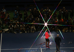 NEW YORK, Sept. 11, 2017  Rafael Nadal of Spain attends the awarding ceremony after defeating Kevin Anderson of South Africa during the men's singles final match at the 2017 US Open in New York, the United States, Sept. 10, 2017. Rafael Nadal won 3-0 to claim the title. (Credit Image: © Qin Lang/Xinhua via ZUMA Wire)
