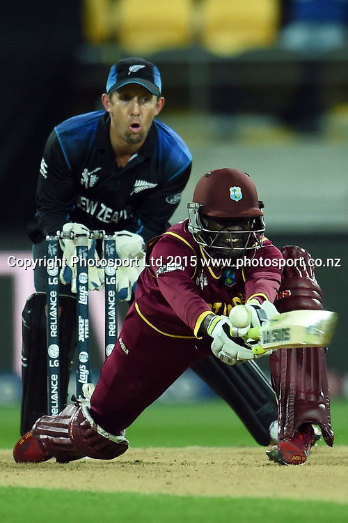 West Indies batsman Jonathan Carter in action during the ICC Cricket World Cup Quaterfinal match between New Zealand and West Indies at Westpac Stadium in Wellington, New Zealand. Saturday 21  March 2015. Copyright Photo: Raghavan Venugopal / www.photosport.co.nz
