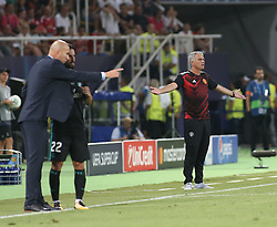 August 8, 2017 - Skopje, Macedonia - Manager Jose Mourinho of Manchester United watches from the dugout during the UEFA Super Cup match between Real Madrid and Manchester United at Philip II Arena on August 8, 2017 in Skopje, Macedonia. (Credit Image: © Raddad Jebarah/NurPhoto via ZUMA Press)