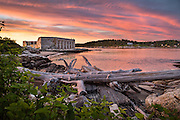 A stunning summer sunset over Fort Popham at the State Historic Site near Popham Beach.