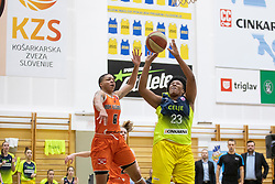 Janeesa Jeffery of MBK Ruzomberok and Rangie Bessard of ZKK Cinkarna Celje in action during basketball match between ZKK Cinkarna Celje (SLO) and MBK Ruzomberok (SVK) in Round #6 of Women EuroCup 2018/19, on December 13, 2018 in Gimnazija Celje Center, Celje, Slovenia. Photo by Urban Urbanc / Sportida