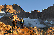 Zwei Alpinisten und das Ziel, der Galenstock SE-Grat, Furka, Uri, Schweiz<br /> <br /> Two alpinists and the goal, the SE-ridge of Galenstock , Furka, Uri, Switzerland