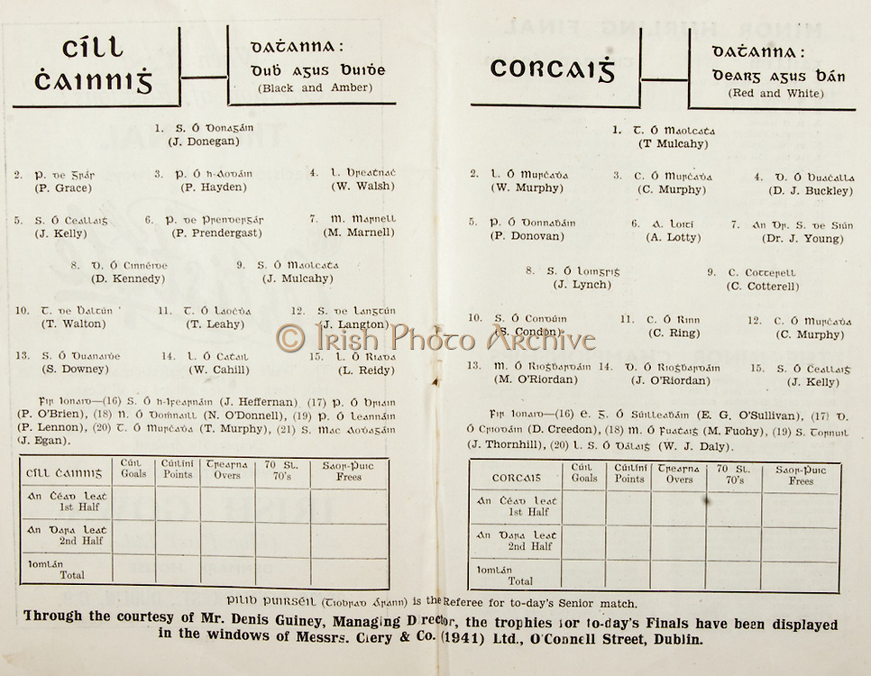 All Ireland Senior Hurling Championship Final Program 7th September 1947, 07.09.1947, 09.07.1947, Kilkenny 0-14, Cork 2-7,.Minor Galway v Tipperary, .Senior Kilkenny v Cork, .Croke Park,..Kilkenny Senior Team, J Donegan, Goalkeeper, P Grace, Right corner-back, P Hayden, Full-back, W Walsh, Left corner-back, J Kelly, Right half-back, P Prendergast, Centre half-back, M Marnell, Left half-back, D Kennedy, Captain, Midfielder, J Mulcahy, Midfielder, T Walton, Right half-forward, T Leahy, Centre half-forward, J Langton, Left half-forward, S Downey, Right corner-forward, W Cahill, Centre forward, L Reidy, Left corner-forward, Substitutes, J Heffernan, P O'Brien, N O'Donnell, P Lennon, T Murphy, J Egan, ..Cork Senior Team, T Mulcahy, Goalkeeper, W Murphy, Right corner-back, C Murphy, Full-back, DJ Buckley, Left corner-back, P Donovan, Right half-back, A Lotty, Centre half-back, Dr J Young, Left half-back, J Lynch, Midfielder, C Cotterell, Midfielder, S Condon, Captain, Right half-forward, C Ring, Centre half-forward, C. Murphy, Left half-forward, M O'Riordan, Right corner-forward, J O'Riordan, Centre forward, J Kelly, Left corner-forward, Substitutes, E G O'Sullivan, D Creedon, M Fuohy, J Thornhill, W J Daly,