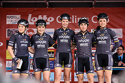 Wiggle Hi5: Chloe Hosking, Lucy Garner, Amy Roberts, Giorgia Bronzini, Audrey Cordon-Ragot - Grand Prix de Dottignies 2016. A 117km road race starting and finishing in Dottignies, Belgium on April 4th 2016.