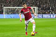 West Ham United Defender Aaron Cresswell (3)in action during the Premier League match between West Ham United and Fulham at the London Stadium, London, England on 22 February 2019.