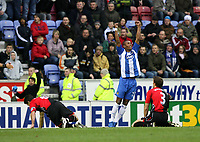 Photo: Paul Greenwood/Sportsbeat Images.<br />Wigan Athletic v Blackburn Rovers. The FA Barclays Premiership. 15/12/2007.<br />Wigan's Marcus Bent (second right) celebrates scoring