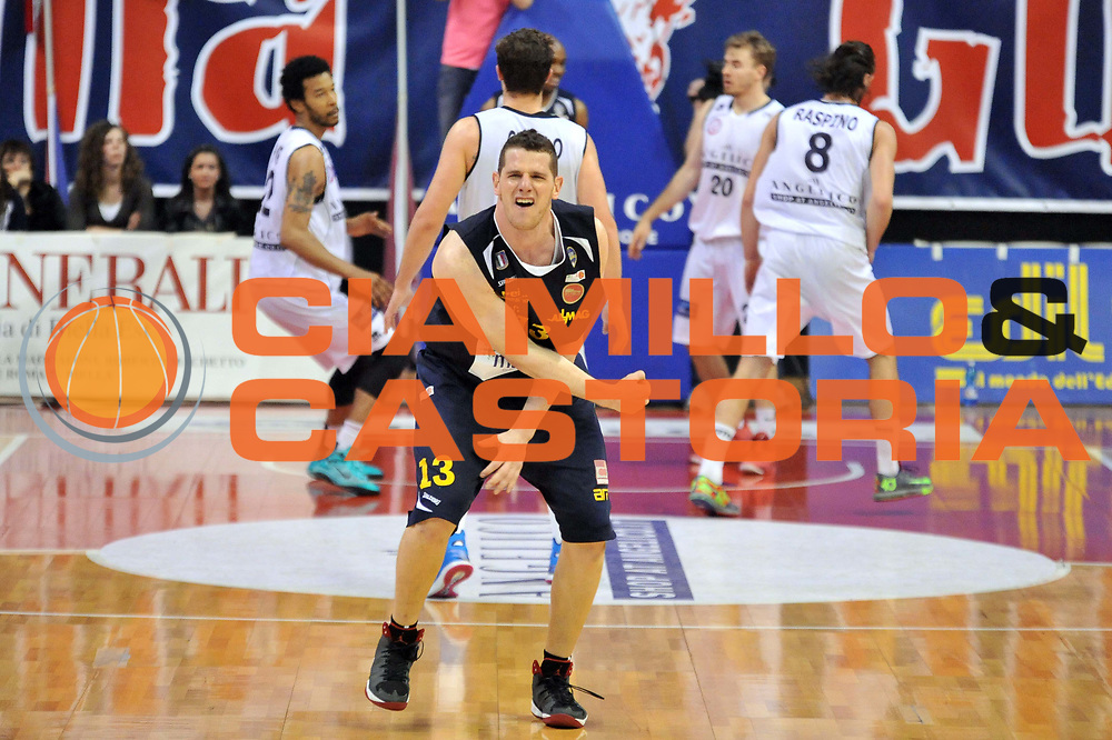 DESCRIZIONE : Biella LNP DNA Adecco Gold 2013-14 Angelico Biella Manital Torino Playoff Quarti di Finale<br /> GIOCATORE : Valerio Amoroso<br /> CATEGORIA : Esultanza<br /> SQUADRA : Manital Torino<br /> EVENTO : Campionato LNP DNA Adecco Gold 2013-14<br /> GARA : Angelico Biella Manital Torino<br /> DATA : 06/05/2014<br /> SPORT : Pallacanestro<br /> AUTORE : Agenzia Ciamillo-Castoria/S.Ceretti<br /> Galleria : LNP DNA Adecco Gold 2013-2014<br /> Fotonotizia : Biella LNP DNA Adecco Gold 2013-14 Angelico Biella Manital Torino Playoff Quarti di Finale<br /> Predefinita :