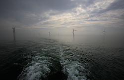 UK ENGLAND NORFOLK SHERINGHAM SHOAL 25SEP13 - Stern wake of the Tia Elizabeth vessel at the Sheringham Shoal wind farm in the North Sea off the Norfolk coast, England.<br /> <br /> jre/Photo by Jiri Rezac<br /> <br /> © Jiri Rezac 2013