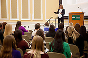 Keynote speaker and Ohio University graduate, Nancy Miller, talks to a crowd gathered for the Ohio Women in Business conference Thursday March 20, 2014.  Photo by Ohio University / Jonathan Adams