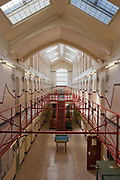 A view along the corridor of D wing at HMP Kingston, Portsmouth, United Kingdom. Kingston prison is a category C prison holding indeterminate sentenced prisoners.