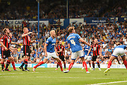 Jayden Stockley and Adam Webster watch yet another Portsmouth chance go astray during the Sky Bet League 2 match between Portsmouth and Morecambe at Fratton Park, Portsmouth, England on 22 August 2015. Photo by David Charbit.