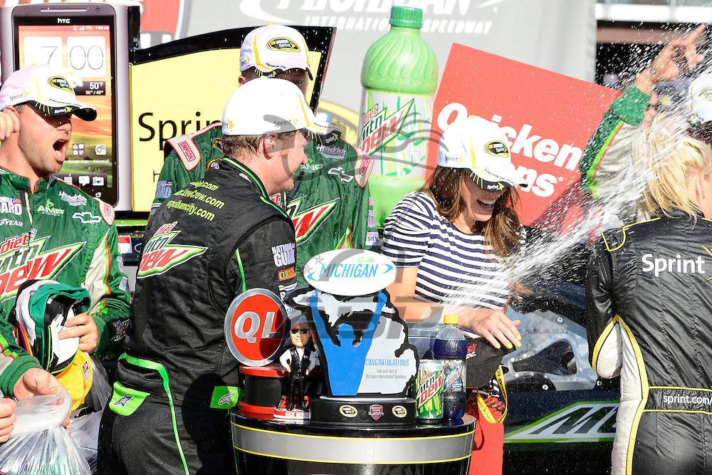 Brooklyn, MI - JUN 17, 2012: Dale Earnhardt, Jr. (88) wins the Quicken Loans 400 race at the Michigan International Speedway in Brooklyn, MI.