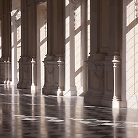 """Galleria Grande (erroneously known as """"Diana's Gallery"""") in the Venaria Reale, a former Residence of the Royal House of Savoy and included (1997) in the UNESCO Heritage List. The Palace was designed and by Amedeo di Castellamonte and building began in 1675."""