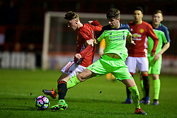 ALTRINGHAM, ENGLAND - Friday, March 10, 2017: Liverpool's Driscoll-Glennon in action against Manchester United's Indy Boonen during an Under-18 FA Premier League Merit Group A match at Moss Lane. (Pic by David Rawcliffe/Propaganda)