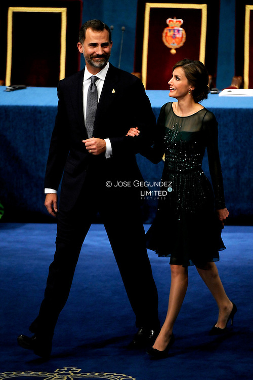 Prince Felipe of Spain and Princess Letizia of Spain attend the 'Prince of Asturias Awards 2013' ceremony Gala at the Campoamor Theater on October 25, 2013 in Oviedo, Spain.