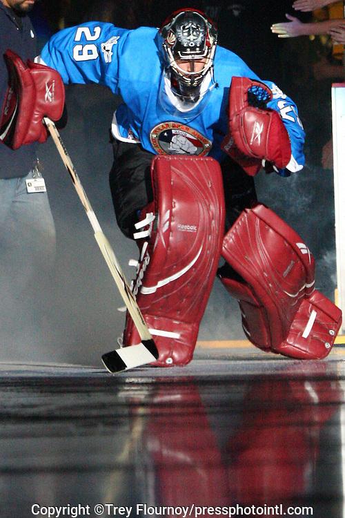 San Antonio Rampage goalie Josh Tordjman takes the ice during an AHL hockey game in San Antonio, Texas. (Trey Flournoy/pressphotointl.com).