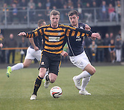 Alloa Athletic's Andrew Kirk and Dundee's Declan Gallagher - Alloa Athletic v Dundee, SPFL Championship at Recreation Park, Alloa<br /> <br />  - &copy; David Young - www.davidyoungphoto.co.uk - email: davidyoungphoto@gmail.com