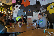 Emily, Connie and Jim eating brreakfast at The Hub motorcycle resort.