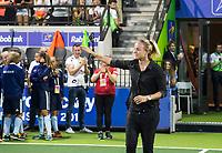 AMSTELVEEN - De Europese hockeyfederatie, de EHF, maakte zaterdag de nieuwe gezichten van de 'Hall of Fame' bekend. EHF-president Marijke Fleuren vertelde in de rust van de damesfinale op het EK dat Maartje Paumen, Moritz Fürste en Kate Richardson-Walsh worden opgenomen in de Hall of Fame van de EHF.  bij de Rabo EuroHockey Championships 2017.   COPYRIGHT KOEN SUYK