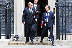 © Licensed to London News Pictures. 10/09/2019. London, UK. Secretary of State for Defence BEN WALLACE (L) and Secretary of State for Wales ALUN CAIRNS (R) departs from No 10 Downing Street after attending the weekly Cabinet Meeting. Photo credit: Dinendra Haria/LNP