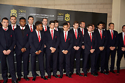 LIVERPOOL, ENGLAND - Tuesday, May 6, 2014: The Liverpool first team arrive on the red carpet for the Liverpool FC Players' Awards Dinner 2014 at the Liverpool Arena. Iago Aspas, Jordan Henderson, Daniel Sturridge, Martin Kelly, Raheem Sterling, Joao Carlos Teixeira, captain Steven Gerrard, Philippe Coutinho Correia, Jon Flanagan, goalkeeping coach John Achterberg, Joe Allen, Luis Suarez, Lucas Leiva. (Pic by David Rawcliffe/Propaganda)