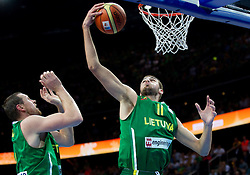 Jonas Valanciunas of Lithuania during basketball game between National basketball teams of F.Y.R. of Macedonia and Lithuania at Quarterfinals of FIBA Europe Eurobasket Lithuania 2011, on September 14, 2011, in Arena Zalgirio, Kaunas, Lithuania. Macedonia defeated Lithuania 67-65. (Photo by Vid Ponikvar / Sportida)