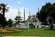 Blue Mosque; Sultan Ahmet Camii; 1609-17; garden; fountains; domes, minarets, Ottoman arichitecture; Istanbul; Turkey; summer