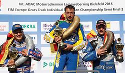07.06.2015, Leineweberring, Bielefeld, GER, ADAC Motorrad Grasbahnrennen EM, Semifinale 2, im Bild Die Siegerehrung mit dem Sieger Enrico Janoschka/D, zweiter 4 Jannick de Jong/NL, dritter 6 Joerg Tebbe/D // during the second Semifinal of ADAC Motorcycle GRASSTRACK European Championship at the Leineweberring in Bielefeld, Germany on 2015/06/07. EXPA Pictures © 2015, PhotoCredit: EXPA/ Eibner-Pressefoto/ Stiefel<br /> <br /> *****ATTENTION - OUT of GER*****