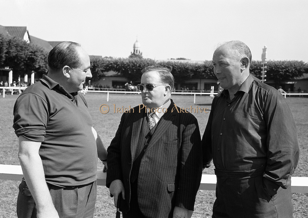 09/08/1967<br /> 08/09/1967<br /> 09 August 1967<br /> R.D.S. Horse Show 2nd day at Balls bridge, Dublin. A general view of the Horse Show grounds. Three Northern business men who had horses at the show.