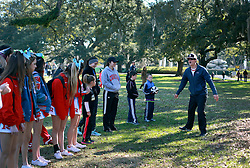 31 December 2014. New Orleans, Louisiana. <br /> Josh Tolbert of the Big Easy Sportsplex preps performers for the stage at the Audubon Zoo for the 'Zoo Year's Eve' celebrations.<br /> Photo; Charlie Varley/varleypix.com