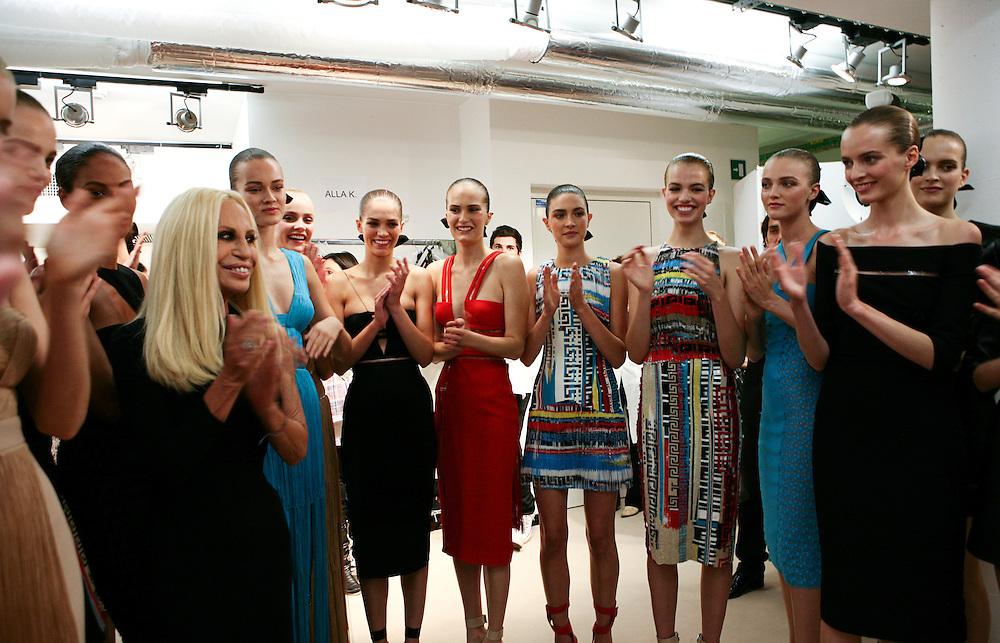 Milan, Italy, September 24, 2010. Backstage at Versace during the Milan Women's Fashion Week Spring/Summer 2011.
