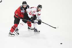Matt Duchene of Canada vs Andres Ambuhl of Switzerland during the 2017 IIHF Men's World Championship group B Ice hockey match between National Teams of Canada and Switzerland, on May 13, 2017 in AccorHotels Arena in Paris, France. Photo by Vid Ponikvar / Sportida