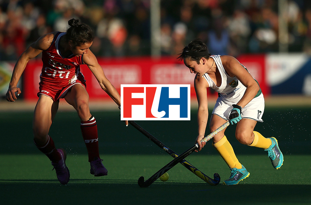 JOHANNESBURG, SOUTH AFRICA - JULY 16:  Caitlin van Sickle of United States of America battles with Candice Manuel of South Africa during day 5 of the FIH Hockey World League Women's Semi Finals Pool B match between South Africa and United States of America at Wits University on July 16, 2017 in Johannesburg, South Africa.  (Photo by Jan Kruger/Getty Images for FIH)