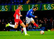 Portsmouth's Marc McNulty has a shot at goal during the The FA Cup match between Portsmouth and Accrington Stanley at Fratton Park, Portsmouth, England on 5 December 2015. Photo by Graham Hunt.