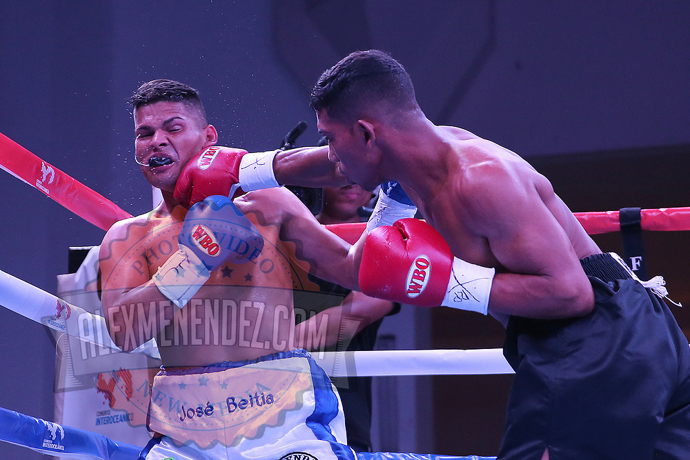 Eliecer Tenoria (R) punches Jose Beitia during their WBO boxing match at the Hotel El Panama Convention Center on Wednesday, October 31, 2018 in Panama City, Panama. (Alex Menendez via AP)