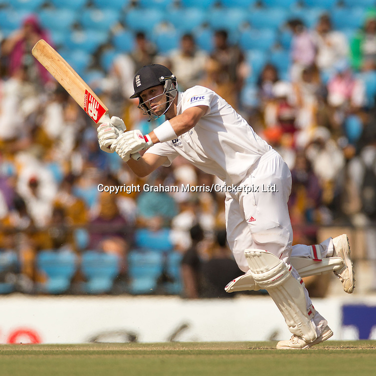 Jonathan Trott bats during his century in the fourth and final Test Match between India and England at the VCA Stadium, Jamtha, Nagpur. Photograph: Graham Morris/cricketpix.com (Tel: +44 (0)20 8969 4192; Email: sales@cricketpix.com)  17/12/12