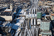 Nederland, Utrecht, Utrecht, 31-01-2010; Centraal Station Utrecht en Hoog Catherijne, spoorwegknooppunt;<br /> Central Station Utrecht en shopping mall Hoog Catherijne, railway junction <br /> luchtfoto (toeslag), aerial photo (additional fee required)<br /> foto/photo Siebe Swart