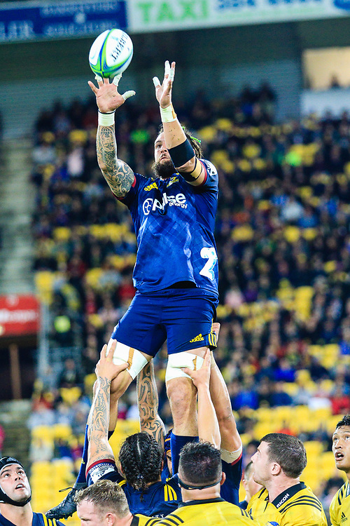 Lineout during the super rugby union  game between Hurricanes  and Highlanders, played at Westpac Stadium, Wellington, New Zealand on 24 March 2018.  Hurricanes won 29-12.