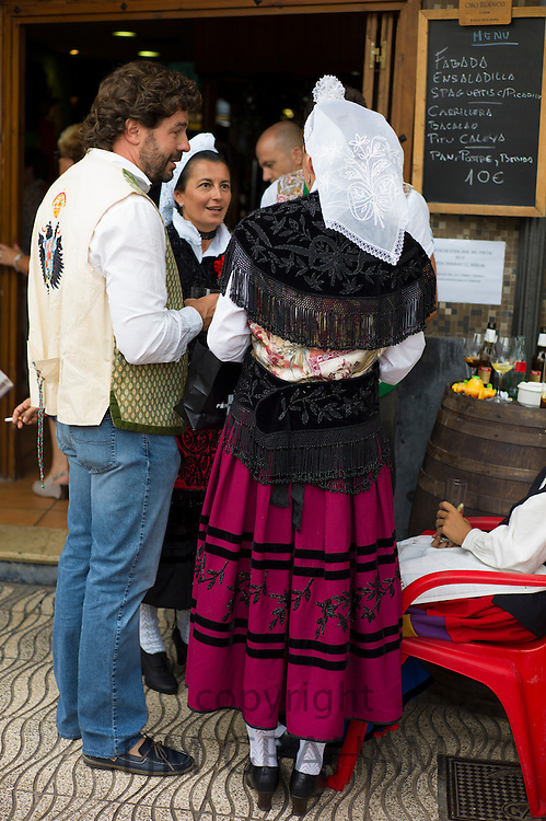 Locals at Sidreria bar during traditional fiesta at Villaviciosa in Asturias, Northern Spain