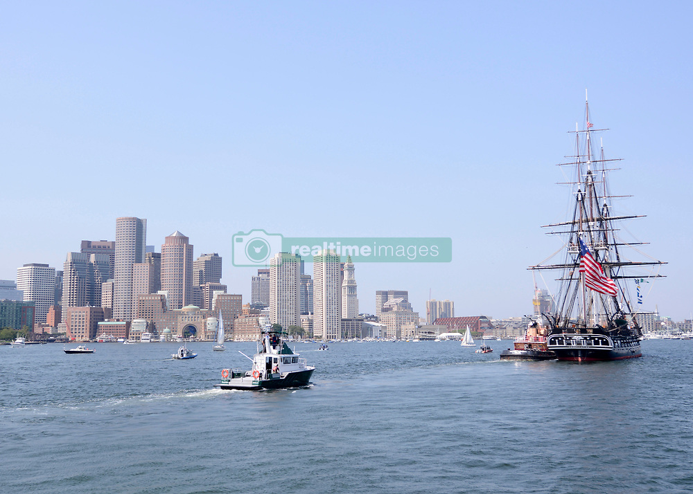 """BOSTON (Aug. 24, 2018) USS Constitution is tugged out to Fort Independence on Castle Island during """"Old Ironsides"""" Chief Petty Officer Heritage Week underway. Chief Petty Officer Heritage Week is a week dedicated to mentoring the Navy's newest chiefs through naval history and heritage training aboard America's Ship of State, USS Constitution. (U.S. Navy photo by Seaman Donovan Keller/Released)180824-N-AE894-0009"""