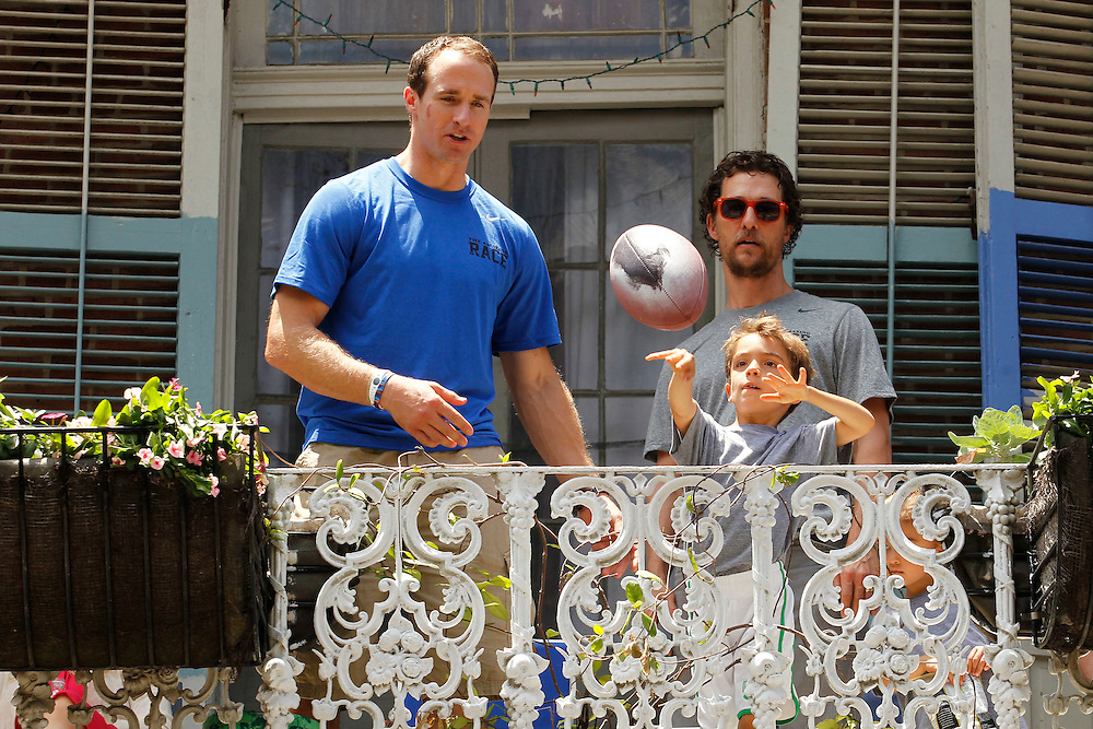 New Orleans Saints Quarterback Drew Brees and pregnant wife Brittany Brees are accompanied by Matthew Mcconaughey and Camilla Alves and children for an Amazing Race Charity Event in the French Quarter of New Orleans, Louisiana on Saturday, May 17, 2014. The event is put together by The Brees Dream Foundation and Mcatthew's Just Keep Livin Foundation. The organizations have partnered together to provide after school fitness and wellness programs in the New Orleans Area.