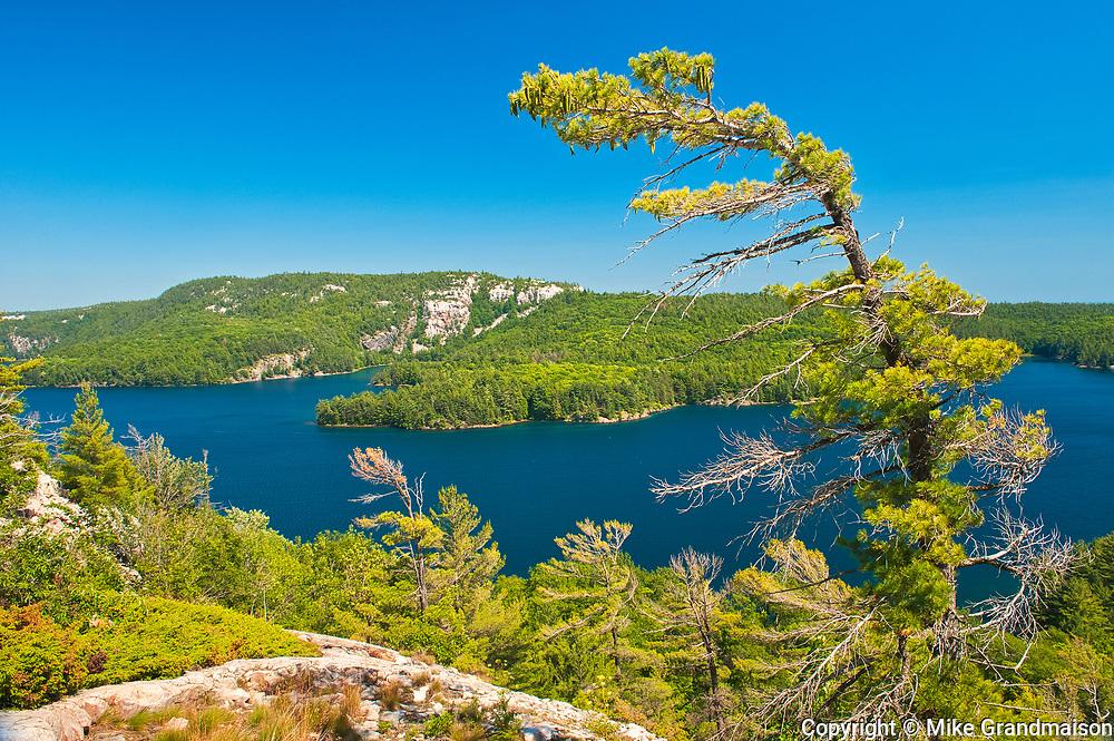 View of Killarney  Lake from top of La Cloche Hills (made f quartzite ).<br />Killarney Provincial Park<br />Ontario<br />Canada