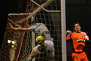 Picture by David Horn/Focus Images Ltd +44 7545 970036.15/01/2013.Dean Cox (not pictured) of Leyton Orient scores the equaliser as Eldin Jakupovic (right)  and James Chester (left) can't prevent the goal during the The FA Cup match at the Matchroom Stadium, London.