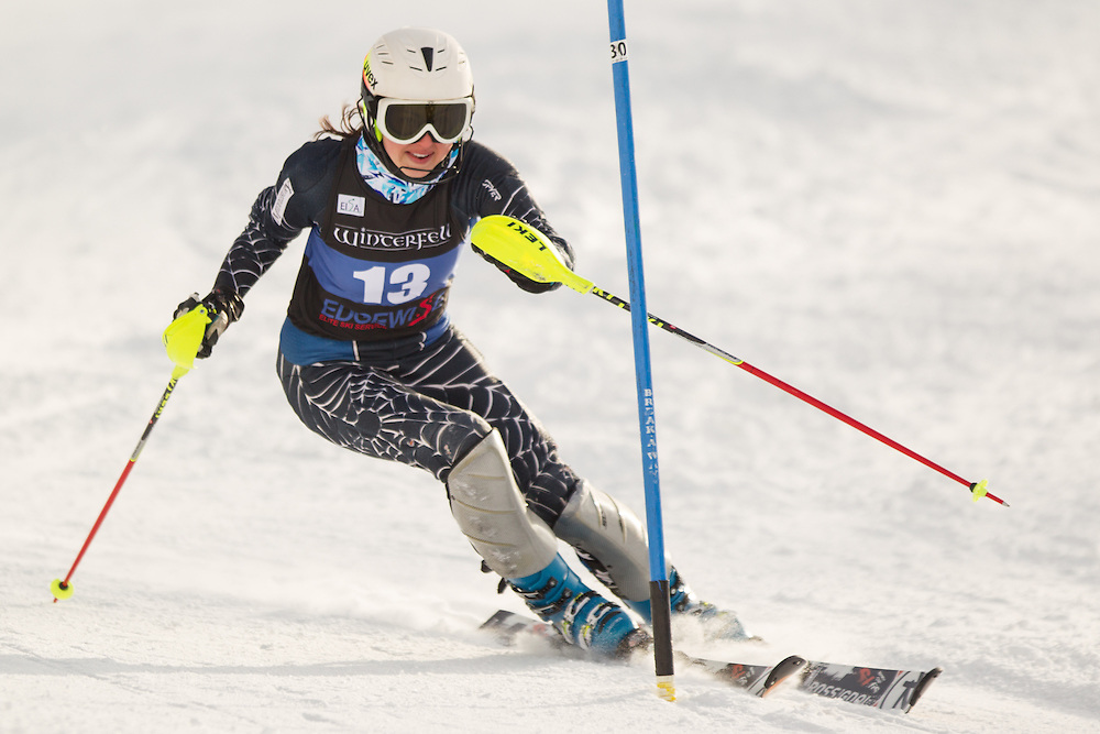 Kara Shaw of Middlebury College, skis during the second  run of the women's slalom at the University of Vermont Carnival at Burke Mountain on January 26, 2014 in East Burke, VT. (Dustin Satloff/EISA)