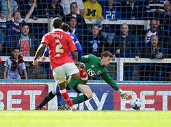 Bristol City Goalkeeper, Frank Fielding makes an excellent save in the dying moments of the game to keep the score at 1-1 - Photo mandatory by-line: Dougie Allward/JMP - Mobile: 07966 386802 23/08/2014 - SPORT - FOOTBALL - Manchester - Spotland Stadium - Rochdale AFC v Bristol City - Sky Bet League One