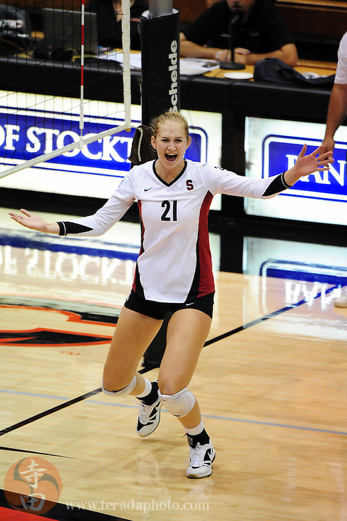September 4, 2009; Stockton, CA, USA; Stanford Cardinal outside hitter Hayley Spelman (21) celebrates a point during the match against the Florida Gators in the UOP Banker's Classic at the Alex G. Spanos Center. The Gators defeated the Cardinal 25-20, 15-25, 16-25, 27-25, 15-9. Mandatory Credit: Kyle Terada-Terada Photo