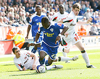 Photo: Steve Bond/Richard Lane Photography. Leicester City v Carlisle United. Coca Cola League One. 04/04/2009. Max Gradel (front) is brought down